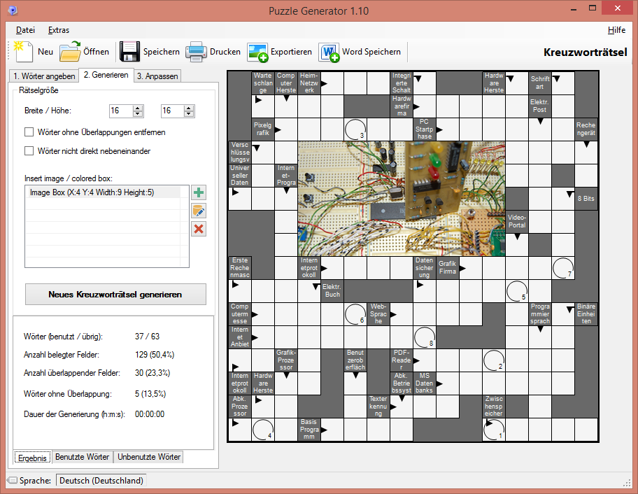 screenshot beispiel kreuzwortrtsel - Beispiel Kreuzwortratsel
