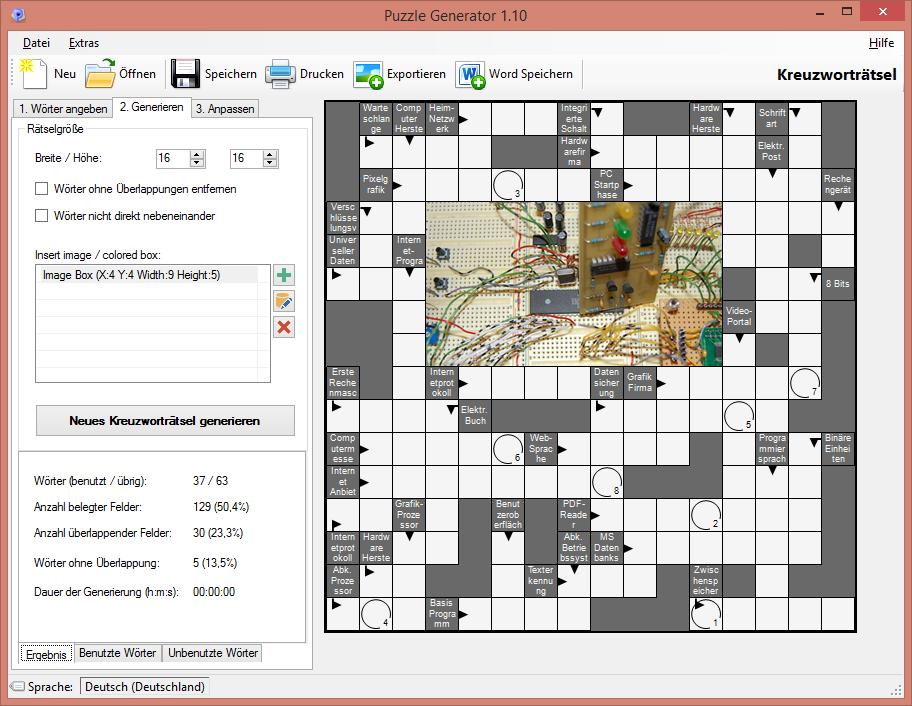 puzzle generator bersicht der programmfeatures. Black Bedroom Furniture Sets. Home Design Ideas